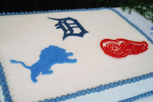 Groom's cake - with fondant Detroit Lions, Tigers and Redwings logos