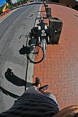 me & my bicycle (damonabnormal) Tags: street city urban distortion philadelphia nikon pavement streetphotography july fisheye pa philly phl brooks redbrick 215 vintagebicycle urbanite carradice 2011 nikon105mm phillipsbicycle d7000