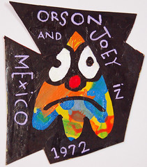 orson and joey in mexico 1972 (OnkelChrispy) Tags: painting paint acrylic dude cardboard marker frown 1972 zorp orsonandjoeyinmexico