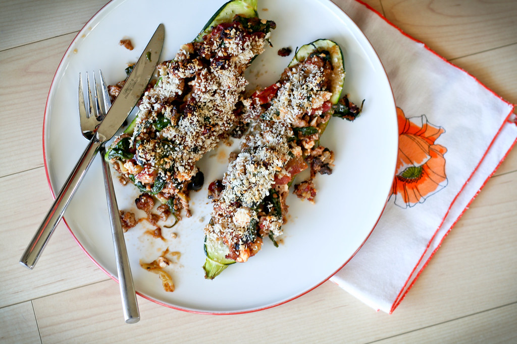Greek-Style Stuffed Zucchini