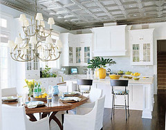 White kitchen cabinets + pale aqua walls: Benjamin Moore 'Italian Ice Green' + 'Ivory White' (SarahKaron) Tags: blue white house inspiration newyork home kitchen yellow design paint interior longisland decorating decor lightblue blueandwhite housebeautiful pressedtin tinceiling benjaminmoore paintcolors whitecabinets ivorywhite yellowaccents italianicegreen