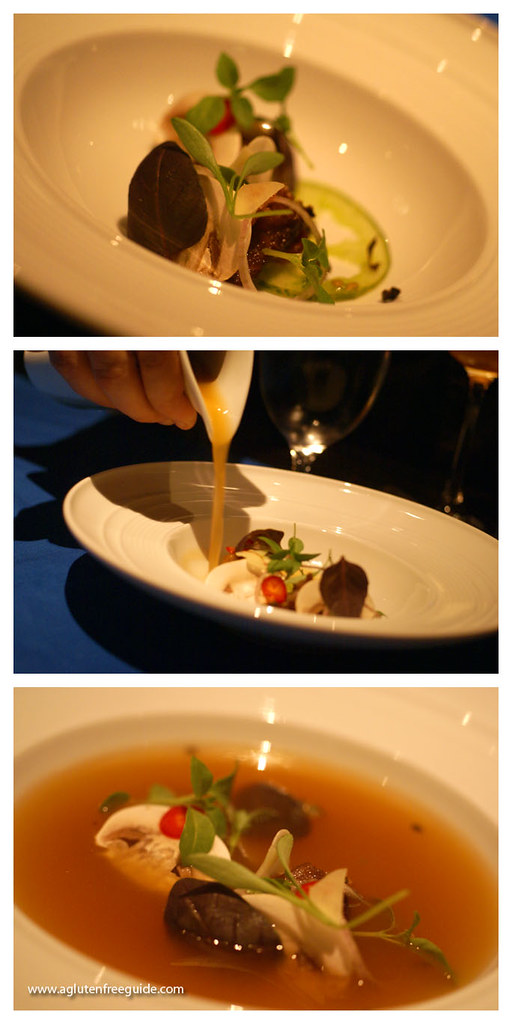 hot and sour broth, pork belly, tomato ginger at Grant Achatz's Next Restaurant