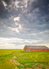 I used to have more purpose... (superduperwesman) Tags: old red canada clouds barn landscape nikon angle wide drumheller alberta prairie prairies bard f4 canola 1224 d90 superduperwesman sdwn