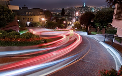 Lombard Street (Matt Granz Photography) Tags: california street flowers light red wallpaper motion blur tower by night photography evening bay others nikon san francisco long exposure many curves trails landmark before tourist been tokina area destination done 1224mm coit crooked lombard cliche sfist d90 mattgranz
