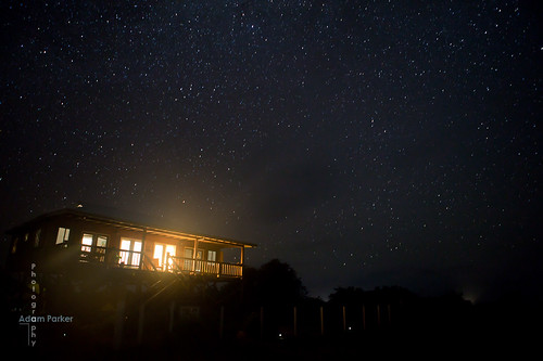 Barbuda cottage with stars at night