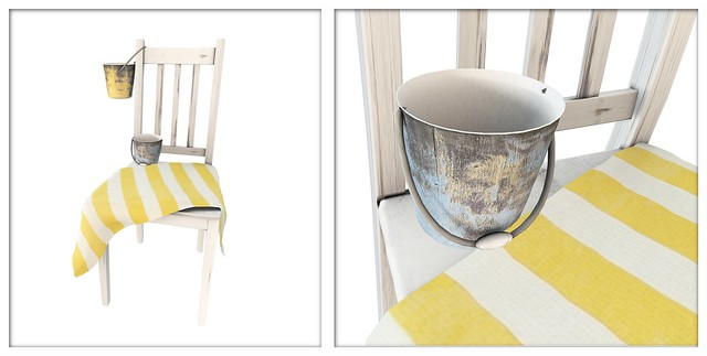 summer. (decorative chair with vintage beach pails)