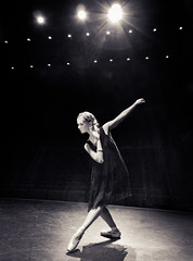 Black Swan (tianxiaozhang) Tags: portrait bw ballet black girl dance dress theatre stage flash dancer location elegant softlight 17mm ef1740l eos500d