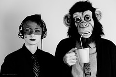 Monkey Versus Robot (exoskeletoncabaret) Tags: seattle portrait coffee corporate monkey robot mask chimp suit ape hacker cyborg maker stern gwob 619western starfishstudios libbybulloff willowbrugh lindseywatkins willowbl00 randomhacksofkindness gwoborg geekswithoutbounds johnnydiggz