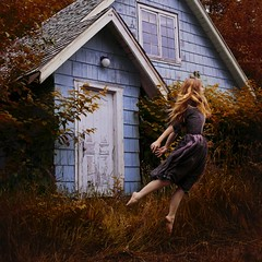 finding the road to neverland (brookeshaden) Tags: blue house selfportrait abandoned overgrown flying floating dreaming dollhouse brookeshaden