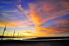(Vincent_Ting) Tags: sunset sky nature water windmill silhouette clouds nikon taiwan windmills  formosa   windturbine wetland  windturbines        formose