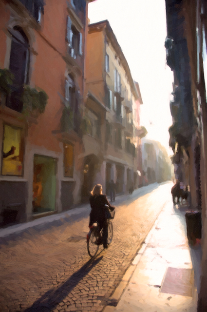 Through the streets of Verona and into the sun.
