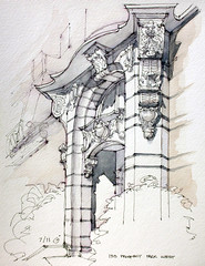 135 Prospect Park West (James Anzalone) Tags: park street nyc newyorkcity shadow urban west detail building stone architecture illustration brooklyn pen ink watercolor painting james sketch carved arch drawing bracket perspective entrance july parkslope landmark line ornament classical gothamist freehand acanthus baroque curved picturesque vignette prospect entry rendering italianate pleinair anzalone urbansketchers