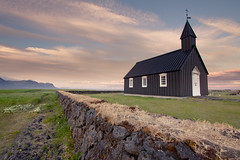 Day 213 - The Church At Bir (Inglfur B) Tags: sunset sky white house west green church island photo iceland picture gras sland mynd snfellsnes bir bakirkja kirkja budir inglfur  ingolfur vesturland  budakirkja inglfurb