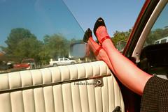 lazy days (h.reavis) Tags: red window glass stockings car fashion women fifties legs retro forties sixties