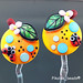 Earring Pair : Orange Ladybug Flower Blossom Leaf