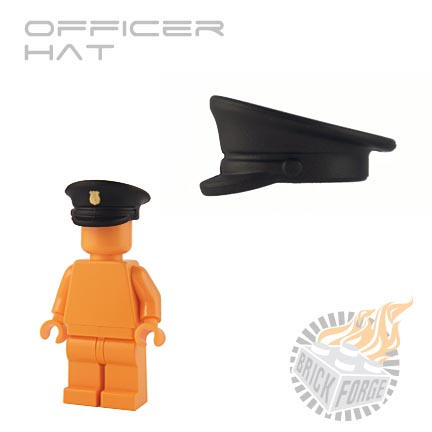 Officer Hat - Black (gold shield print)