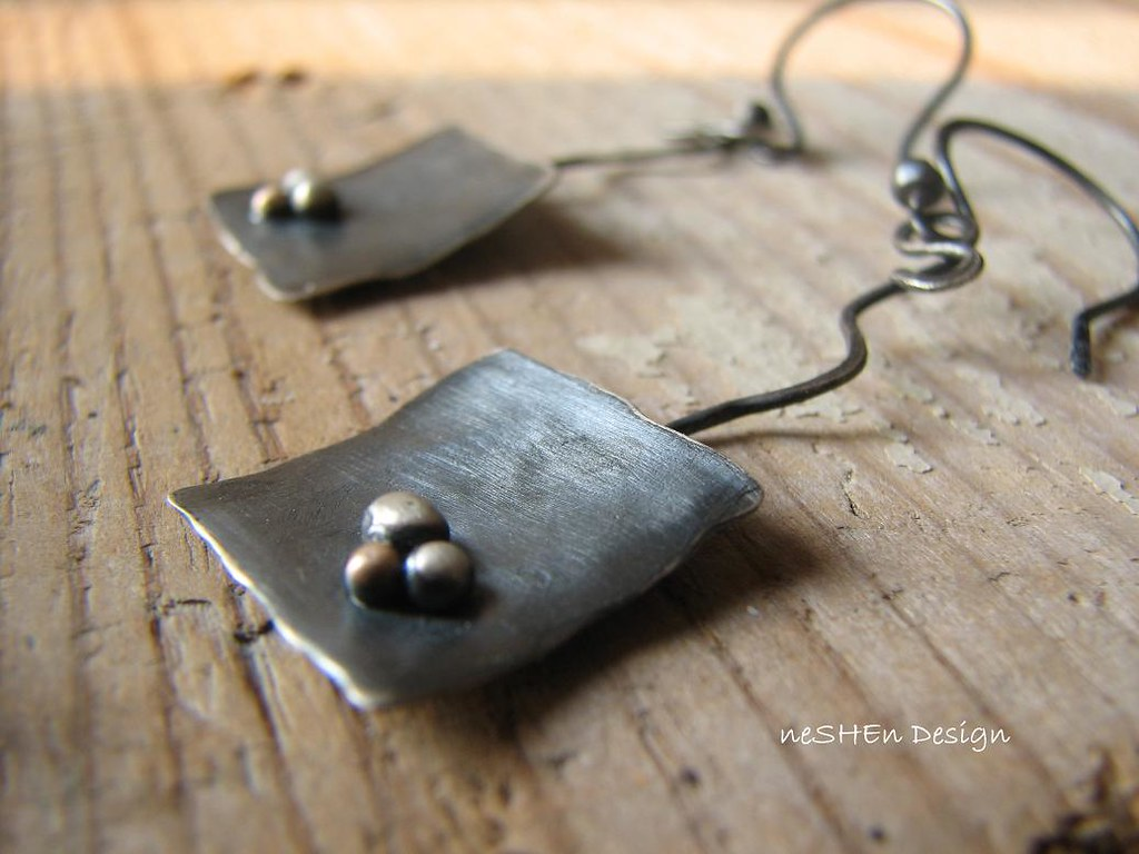 Antiqued Sterling Silver & 9K Gold  Earrings