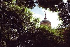 window through leaves (redbeanicy) Tags: china green leaves yellow canon poplar minaret muslim islam xinjiang kashgar dslr idkahmosque