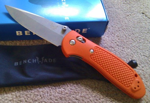 "Benchmade Griptilian 3.45"" X15 T.N. Steel Plain Blade, Orange Handles"