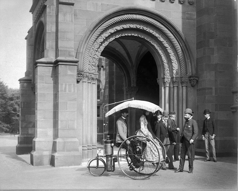 Steam tricycle in front of Castle, 1888