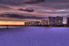 Marco Island Sunset (johnmiseroy) Tags: ocean pink blue sunset orange color beach beautiful yellow canon landscape photography eos purple filter hdr 28300mm marcoisland photomatix tonemapping singhray t2i varintrio