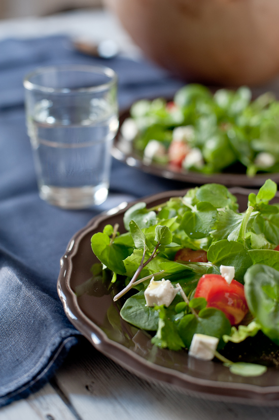 Mixed greens tomato and feta salad