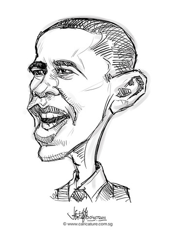 digital caricature sketch of Barack Obama