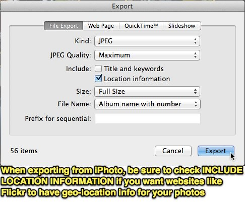 Include Location Info in iPhoto Export