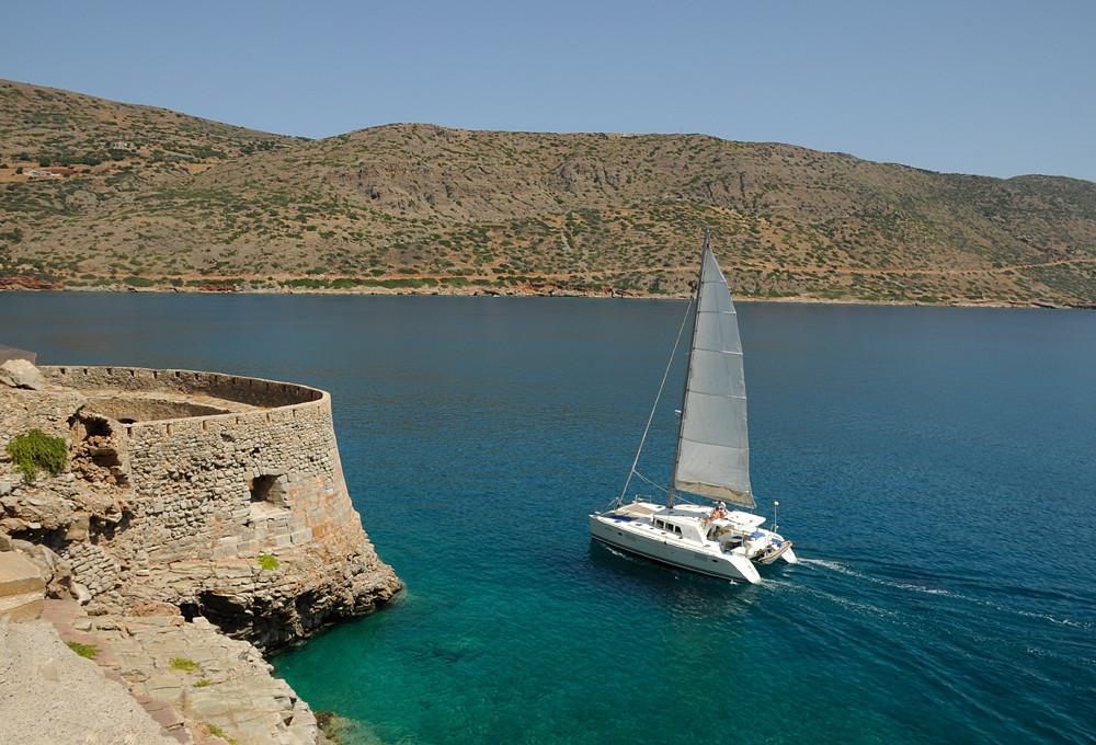 Catamaran at the rear of Spinalonga Island