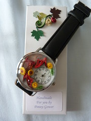 Red yellow shoe watch with box (Gregelope) Tags: colour beautiful beauty watches handmade jewellery craftsmanship papercraft quilling craftwork