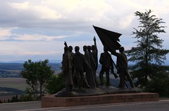Buchenwald memorial by Fritz Cremer (:Linda:) Tags: silhouette metal germany landscape town buchenwald weimar thuringia concentrationcamp memorialsite fritzcremer sculptureofaman peoplemadeofmetal