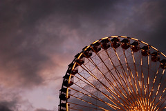 Spun (pantagrapher) Tags: light chicago wheel clouds evening gbrearview ferris chicagoist