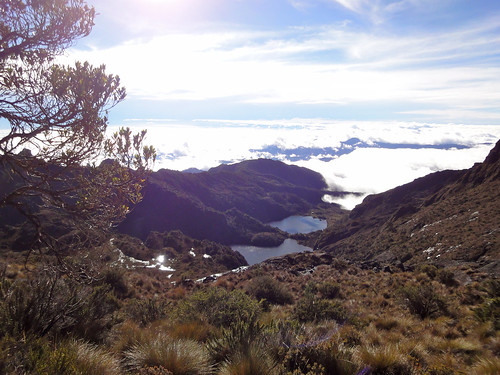 Lakes Piunde and Aiunde above the clouds