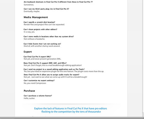 Page 2 - What Apple REALLY Said in their FCP FAQ