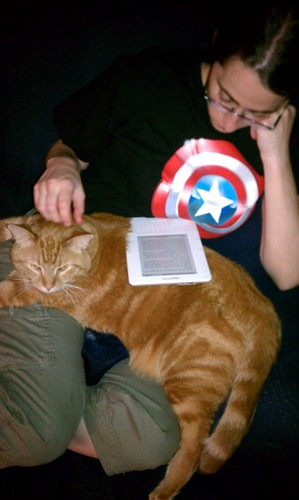 Ptw Well thats a plus for the Kindle, I doubt the cat would let her do that with an iPad