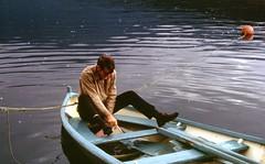 Bailing out! Ulvikfjord, Hardanger, Norway, 1971 (NE2 3PN) Tags: norway 1971 rowingboat