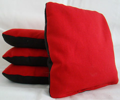 Red & Black Suede Dual Sided Cornhole Bags