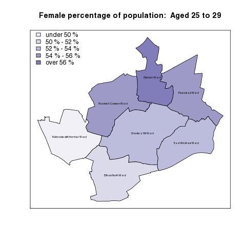 Female percentage of population:  Aged 25 to 29