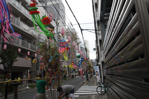 Men preparing the streamers for Tanabata festival 3