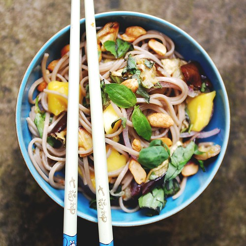 ottolenghi's soba noodles with aubergine & mango