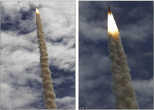 Let's light her up one last time! Atlantis overcomes a shaky launch to become the final Nasa shuttle to blast into space  4
