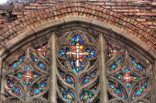 Abandoned City Methodist Church. Stained glass windows closeup. HDR.  Gary, Indiana.