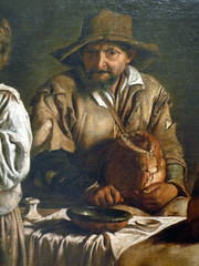 Antoine or Louis Le Nain, Peasant Family in an Interior, detail of man