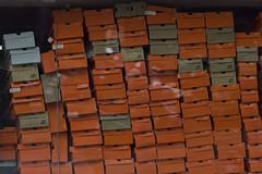 Shoe Boxes (beachinrn) Tags: orange shopping shoes nike boxes leaning pune tilted mgroad shoeboxes