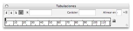 Ventana de tabulación en inDesign