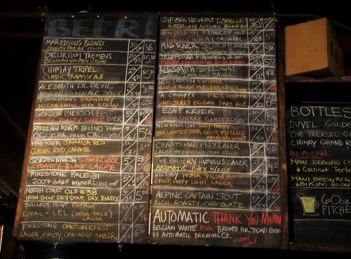 Beer menu at Blind Lady