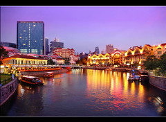 SINGAPORE Clark Quay (Kenny Teo (zoompict)) Tags: city bridge light sunset sky reflection building tourism water beautiful night canon wonderful river lens landscape boat photo yahoo google scenery photographer waterfront view walk wave tourist best getty bluehour kenny 七股 singaporeriver clarkquay zoompict singaporelowerpiercereservoir