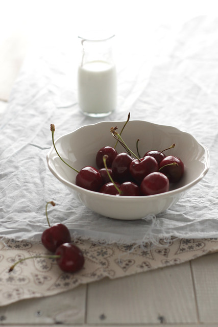 Cherries. In a bowl.