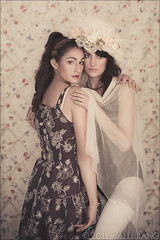 flower duet. (Alli Jiang) Tags: pink girls friends portrait people flower beautiful photoshop canon photography pretty pattern sweet feminine pastel flowerprint beauties postprocess lightroom pastelcolor 2011 allijiang flowerduet magalibourget morielzelikowsky magalichantalbourgetgerrard