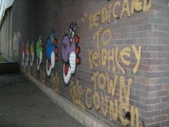 """Dedicated To Keighley Town Council"" (RetroGraffiti) Tags: street blue school red orange black west green london art sorry yellow wall gold graffiti town sketch purple yorkshire mario retro holy your croft elite illegal council about dedicated yoshi keighley quaser"